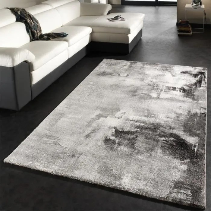 tapis design moderne toile splash gris noir blanc