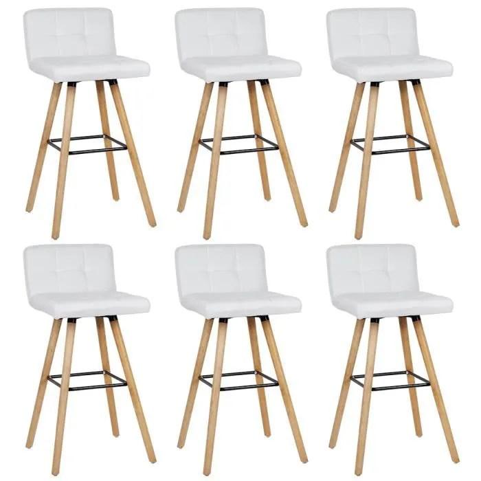 6 x tabouret de bar scandinave blanc pieds bois naturel style scandinave chaise haute bar dossier et repose pied l 42 x p 49 cm