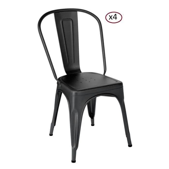 lot de 4 chaises de style tolix noir mat en metal industriel