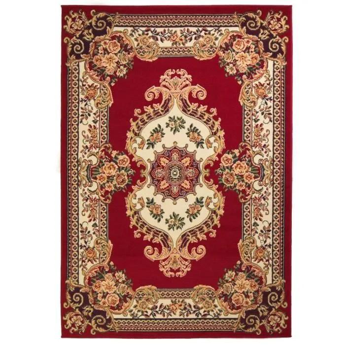 homgeek tapis oriental design persan rouge beige