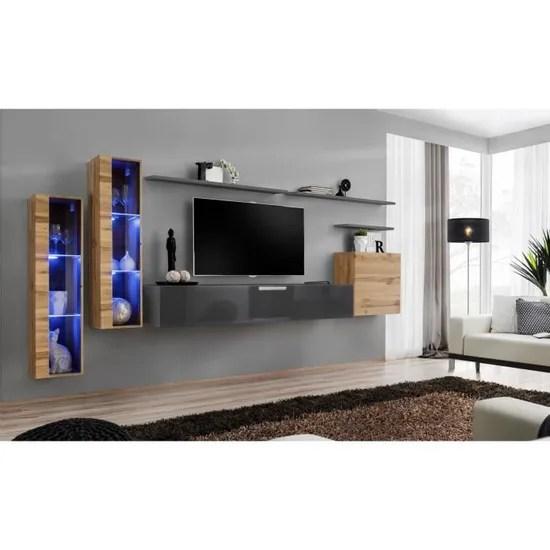 ensemble meuble salon mural switch xi design coloris gris brillant et chene wotan 40 gris