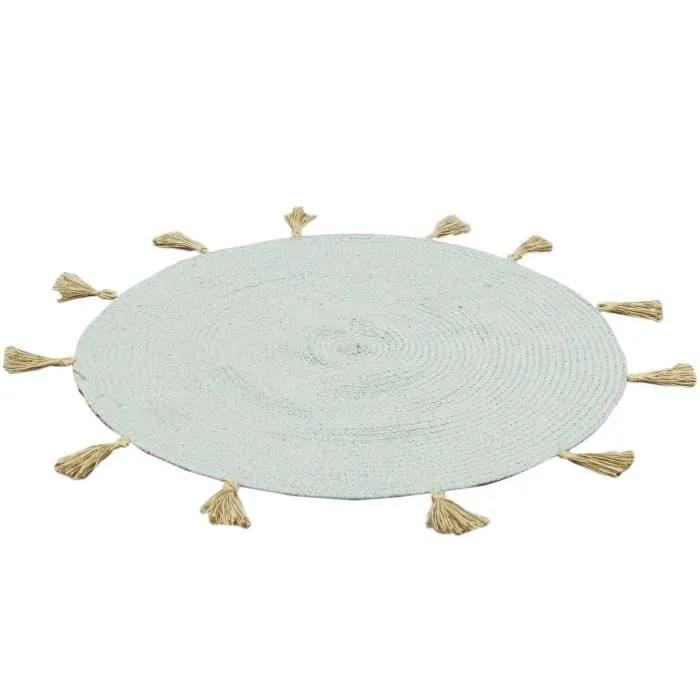 cmp paris tapis rond a pompons o90 cm vert c