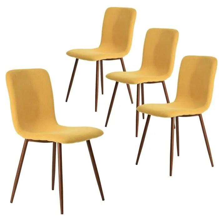 furnish1 lot de 4 chaises de salle a manger tissu jaune pied metal avec une impression en bois style scandinave