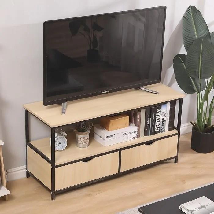 meuble tv banc tele de 110 cm au style industriel