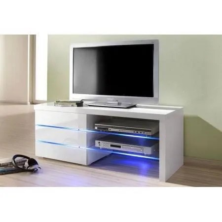 meuble tv a led blanc laque logan 110