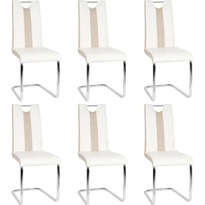 wiss lot de 6 chaises blanches pour salle a manger hauteur 49 cm