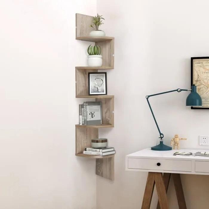 etagere d angle murale en bois etagere de rangement suspendue zigzag 5 etages stockage pour salon chambre cuisine salle de bain