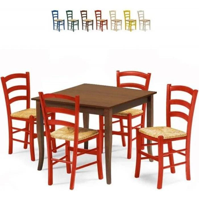 set 4 chaises et table carree interieur cuisine bar bois rusty rouge