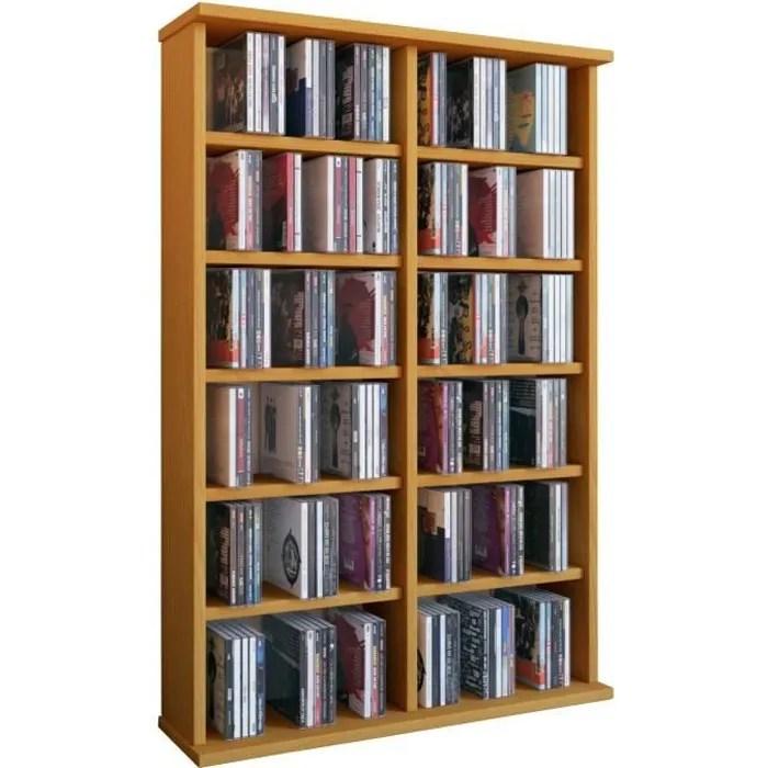 ronul tour rangement bibliotheque cd dvd 300 cd sans portes hetre