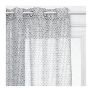 voilage blanc motif gris