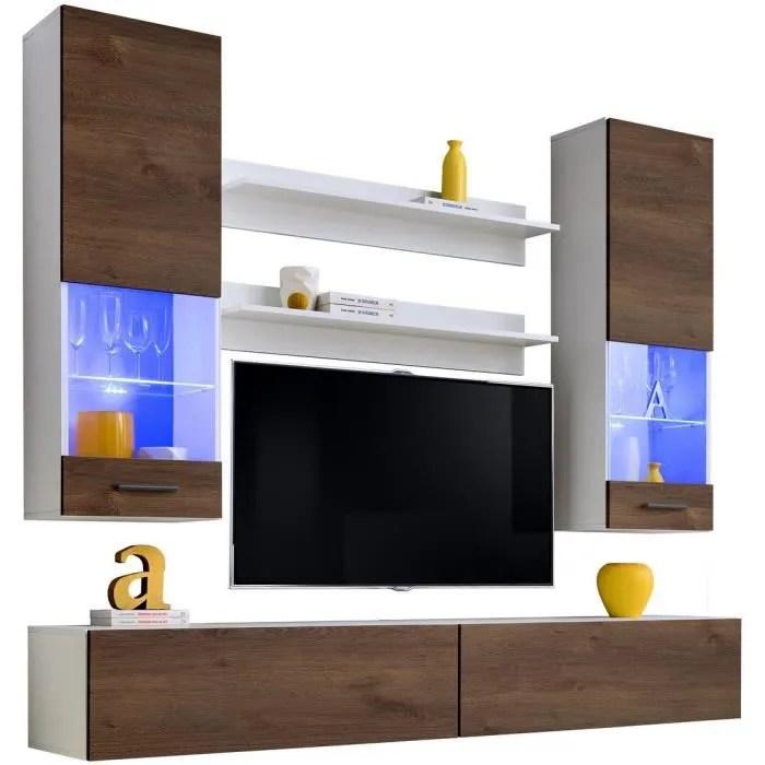 extreme furniture meuble tv mural fly led bleues bronze mat blanc facades en bois mat l200cm x h195cm x p40cm