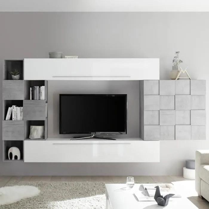 ensemble mural tv blanc et gris clair design arden