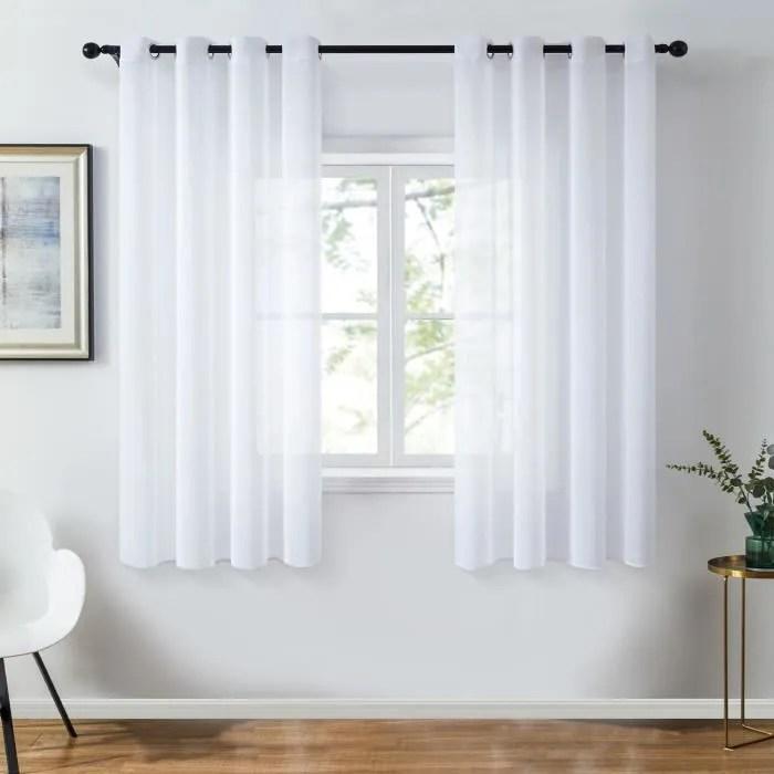 topfinel rideau voilage 140x160cm blanc en chiff