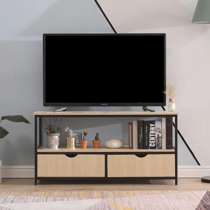 meuble tv design industriel en bois 2 tiroirs tabl