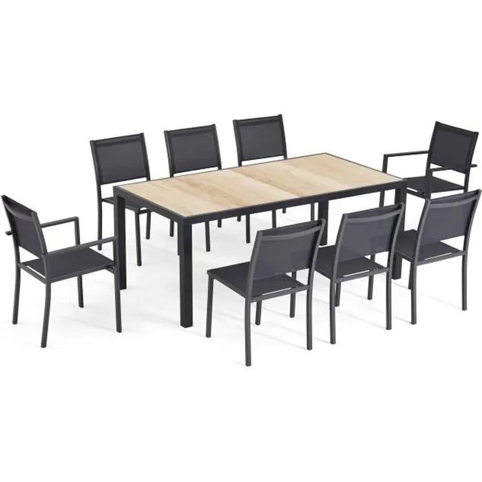table et chaise encastrable 6 place