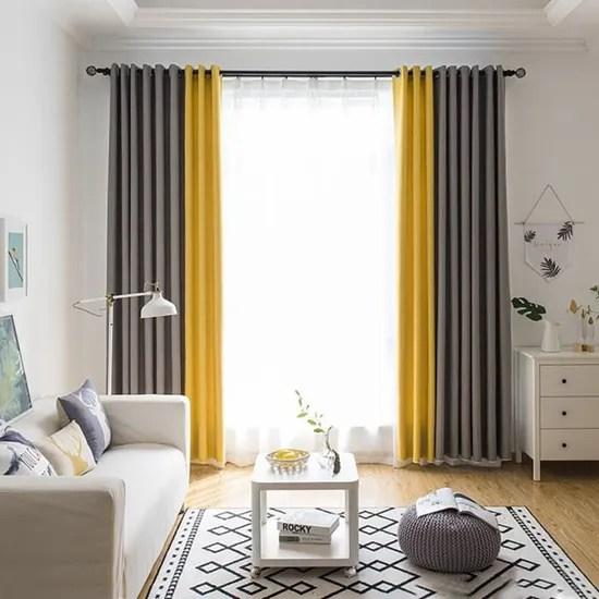 rideau occultant assombrissant isolant thermique doux pour chambre de salon gris et jaune 1pcs