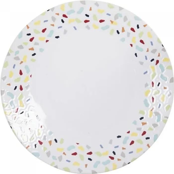 assiette plate terrazzo 27 cm lot de 6 table passion multicolore