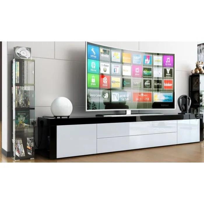 meuble tv noir blanc et noir 200cm
