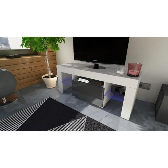 meuble tv 110 cm blanc et noir avec led rgb