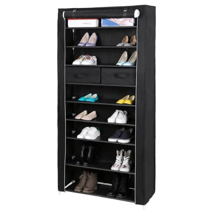 songmics armoire a chaussures etagere a chaussures 10 couches avec rideau enroule et housse noir rxa10h