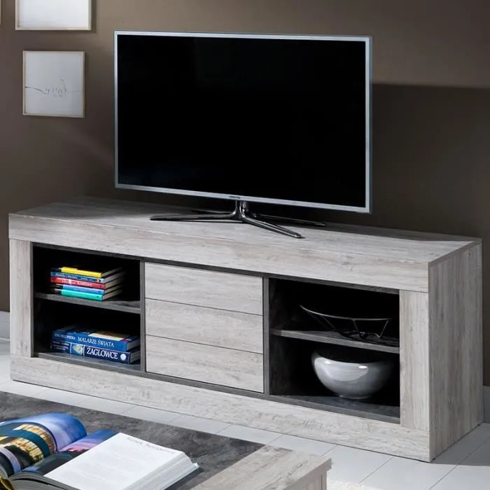banc tv 150 cm contemporain couleur bois duncan l