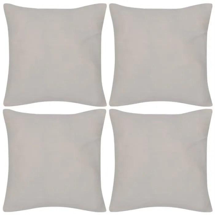 4 taies d oreiller beige en coton 80 x 80 cm