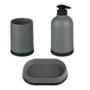 set accessoires salle de bain gris