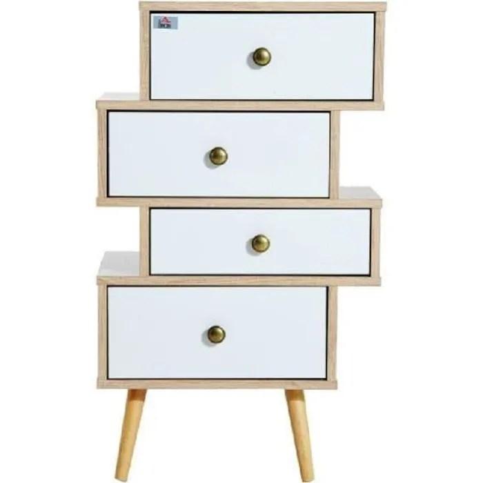 meuble commode chiffonnier style scandinave 4 tiroirs coulissants 47 x 30 x 81 cm coloris blanc bois de chene neuf 49