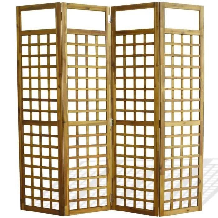 paravent 4 panneaux en bois d acacia 160 x 170 cm