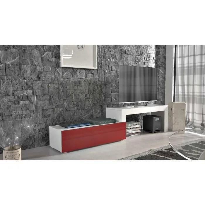 meuble tv extensible blanc mat bordeaux laque 108