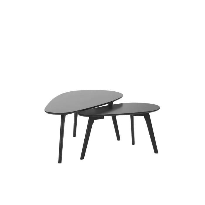 lot de 2 tables basses noires fly iii