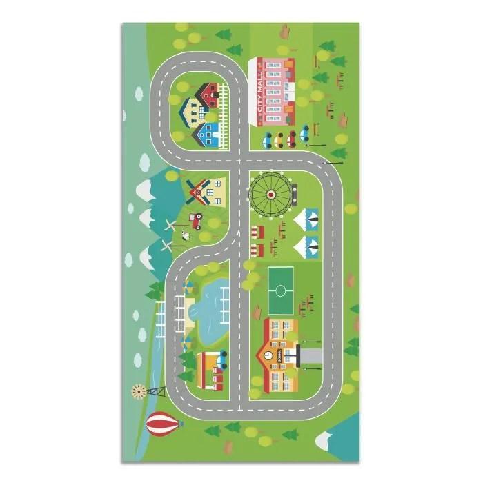 panorama tapis du sol vinyle routes pour les enfants 120x170cm tapis de cuisine en pvc linoleum vinyle antiderapant lavable