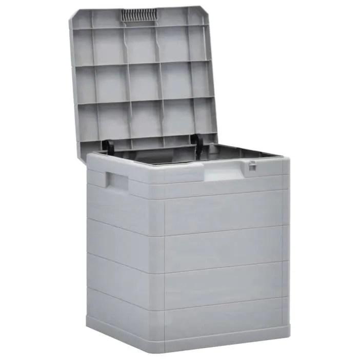 festnight boite de rangement d exterieur jardin meubles de jardin en plastique 42 5 x 44 x 50 cm 90 l gris clair