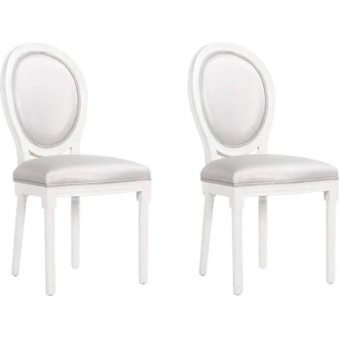lot de 2 chaises medaillon versailles style louis xvi polyurethane gris gris simili cuir inside75