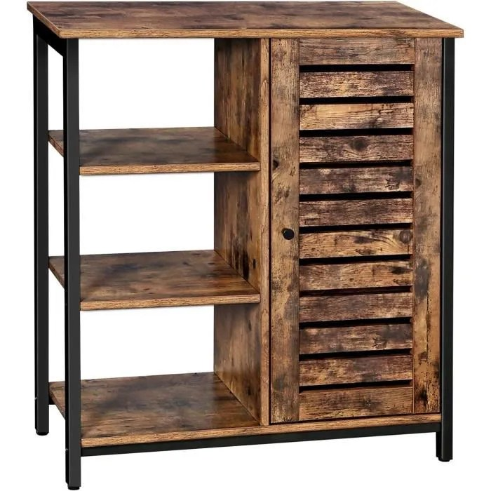 meuble de rangement industriel 70 x 30 x 81 cm bibliotheque 3 niveaux cadre en acier meuble de salle de bain buffet vasagle