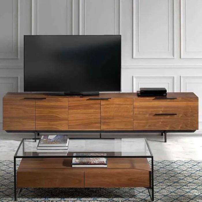 meuble tv contemporain couleur noyer et metal noir