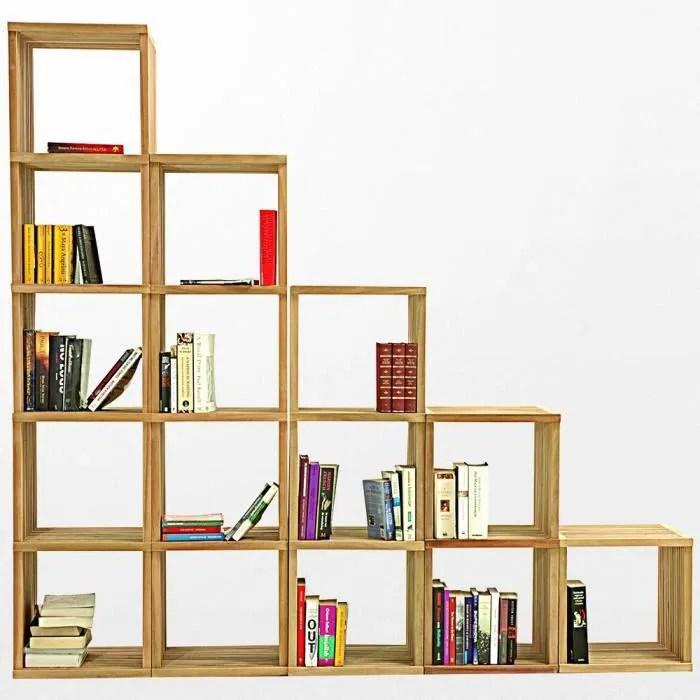 bibliotheque en bois en escalier de 5 niveau