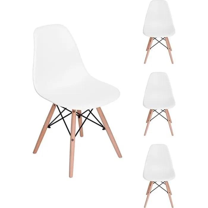 h j lot de 4 chaises scandinave design