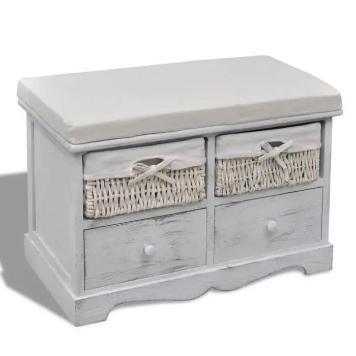 banc de rangement banc coffre de rangement blanc en bois avec 2 paniers de tissage et 2 tiroirs