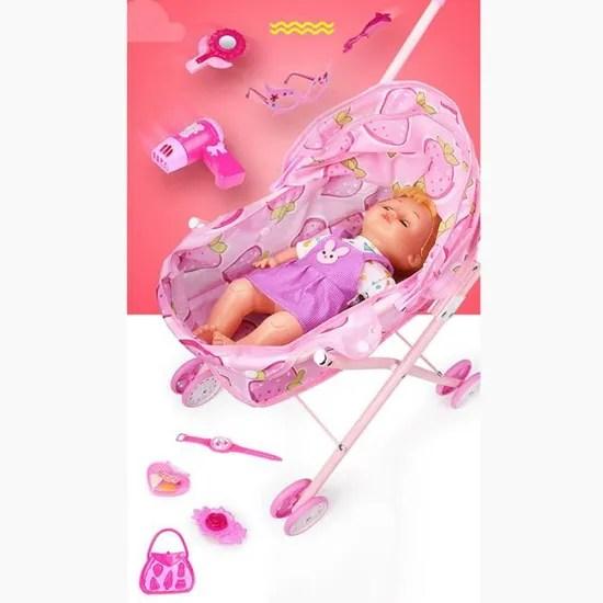 trendy poussette de poupee rose bebe confort poussette poupee fraisier jouet de simulation landau pour enfant cadeau education