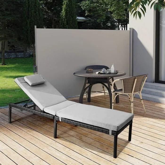 songmics chaise longue bain de soleil