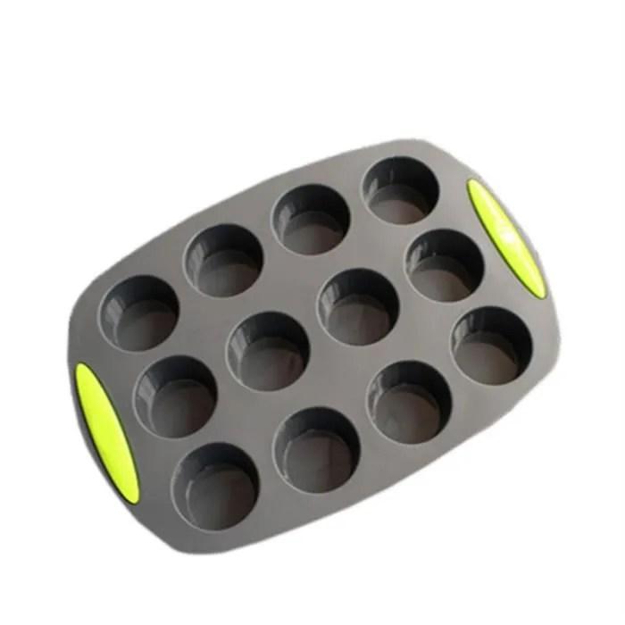 12 cavite double couleur petit rond gateau moule silicone silicone outils de cuisson noir