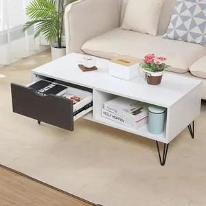 table basse blanc pied metal