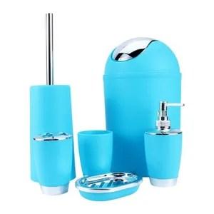 set accessoires salle de bain bleu