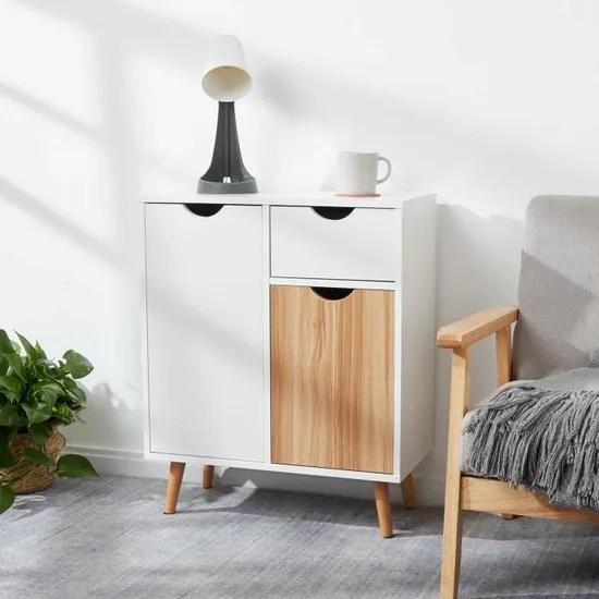 commode moderne buffet meuble de rangement convient pour salon salle a manger cuisine chene et blanc 60 x 30 x 73 cm meerveil