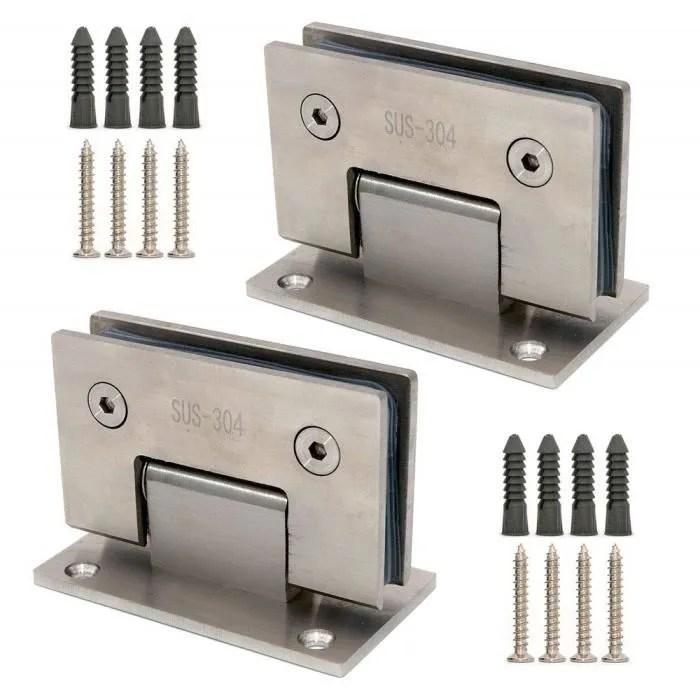 nuzamas lot de 2 charnieres de porte en verre sans cadre avec fixation murale pour porte de douche 8 a 12 mm porte de 80 a 100 c