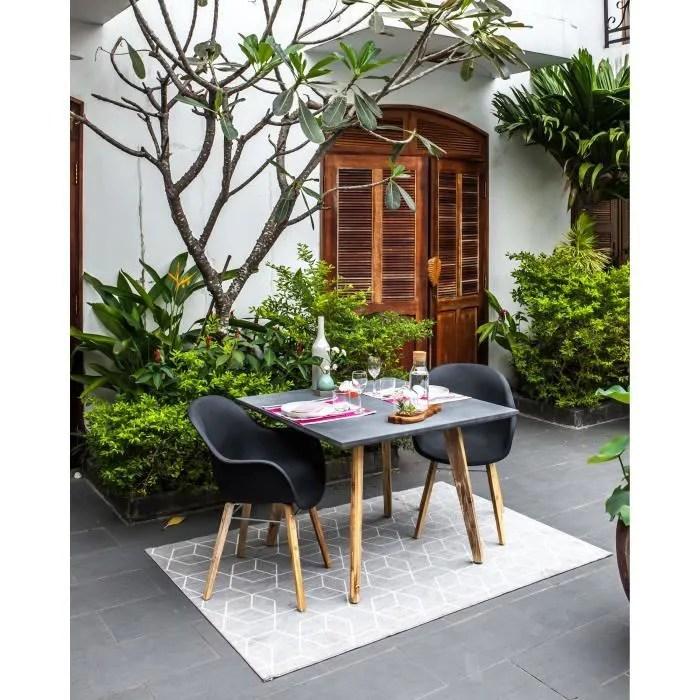 ensemble repas de jardin 2 personnes table 100x100 2 fauteuils plateau fibre de ciment gris clair