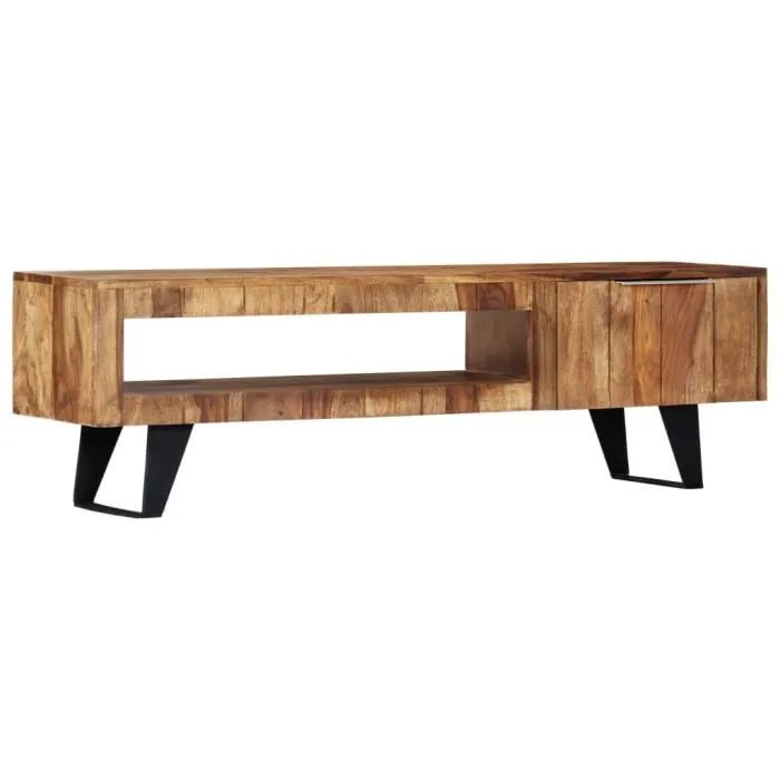 meuble tv table de salon scandinave table basse bois pour bureau tv 140x30x40 cm bois massif de sesham