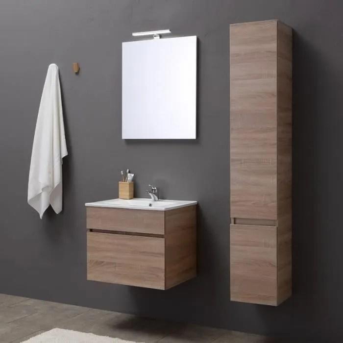 meuble de salle de bains de 60 cm avec tiroir miroir et lavabo en chene serie sole