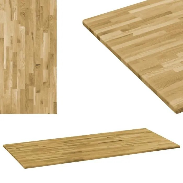 plateau de table dessus de table bois de chene rectangulaire 23 mm 120x60 cm